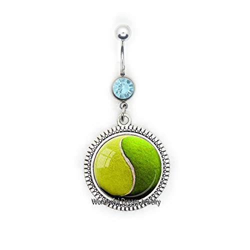 YIN YANG Tennis Ball Belly Button Ring Tennis Lover Gift Glass Belly Button Ring Belly Ring Green Yellow Sports Belly Button Ring Jewelry,PU348