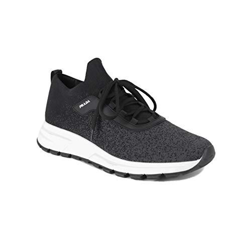 Prada Linea Rossa Men's Knit Fabric Sneaker Shoes Black/Grey