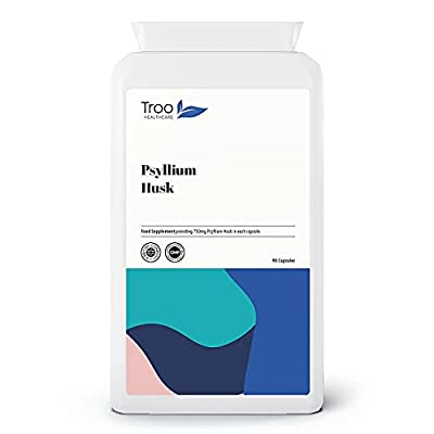 Psyllium Husks Supplement (750 mg) - 90 Capsules - Suitable for Vegetarians and Vegans | Contains No Common Allergens | UK Manufactured to GMP Standards
