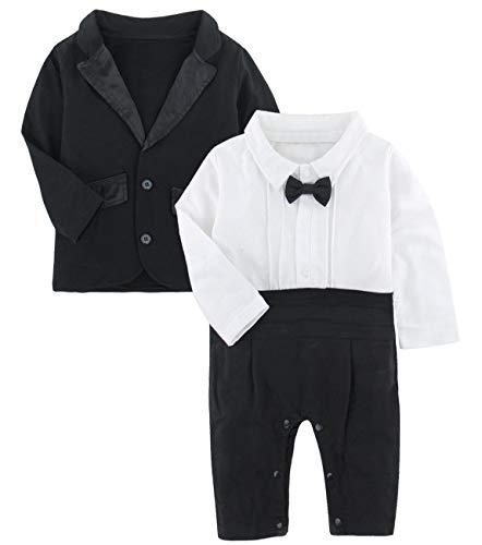 A&J DESIGN 2 Stück Baby Gentleman Strampler Anzüge Party Overall (Schwarz, 9-12 Monate)