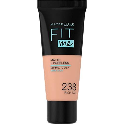 Maybelline Fit me! MATTE&PORELESS Make-up Nr. 238 Rich Tan, flüssiges Make-up, passt sich dem Hautton an, feuchtigkeitsspendend, mattierend, leichte bis mittlere Deckkraft, 30 ml