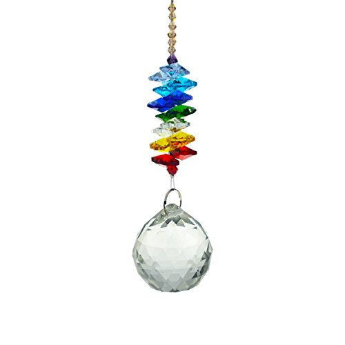 Feng Shui - Colgante de bola de cristal transparente (40 mm), diseño de arcoíris
