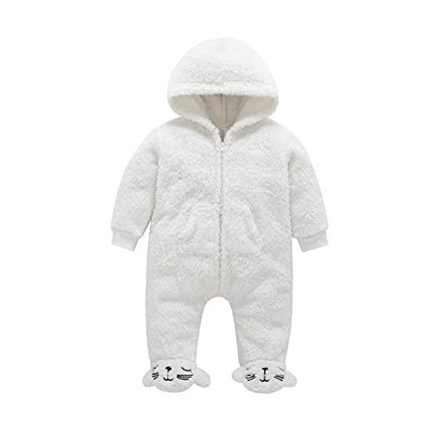 Bebé Niños Niñas Mono Vellón Mameluco con Capucha Pijama Manga Larga Peleles Infantil Traje de Dormir Recién Nacido Invierno Onesie, 3-6 Meses