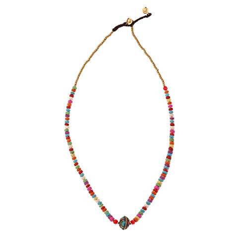 Boho Kette Damen Goa Orientalische Halskette - Made by Nami - Perlenhalskette mit Glöckchen Orientalisch (Bunt)