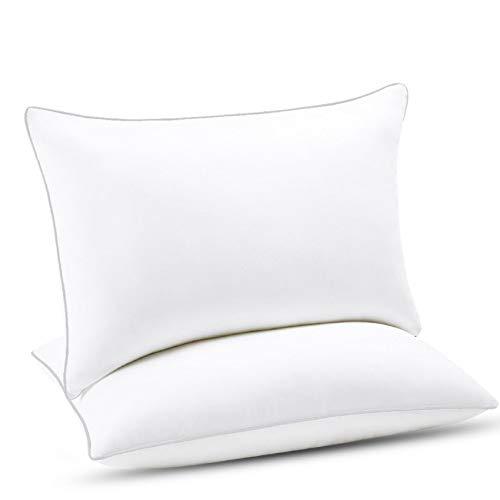 Emolli Almohada de Cama de Hotel para Dormir – Almohada de Microfibra de Lujo Suave, Blanco/Gris