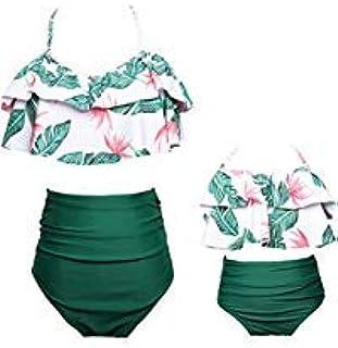 2 قطعة مامي وأني مطابقة الأسرة المايوه الكشكشة النساء ملابس السباحة أطفال طفل طفل بيكيني المايوه الشاطئ مجموعات