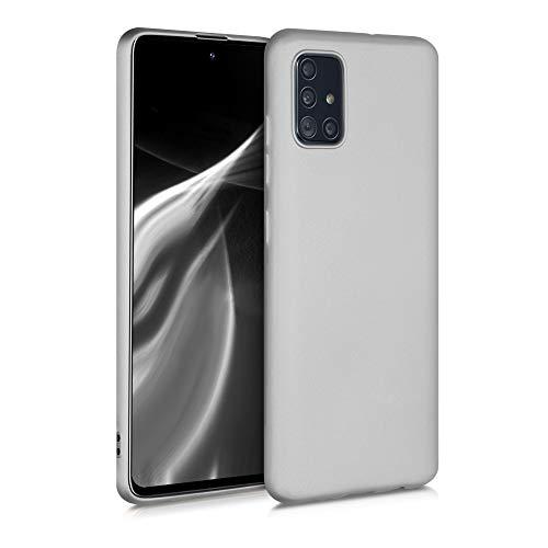 kwmobile Hülle kompatibel mit Samsung Galaxy A51 - Handy Hülle Metallic Silber