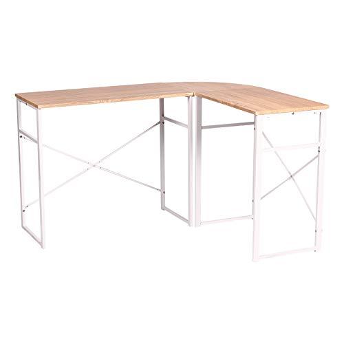 Lestarain Schreibtisch L-förmiger Computertisch Bürotisch Arbeitstisch Winkelkombination Eckschreibtisch, aus Holz und Stahl für Home Office 83x40x72,5 & 63x40x72,5cm(BxTxH) Hell Eiche