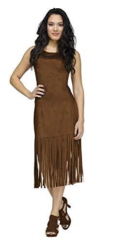 shoperama Damen Basic Fransen Kleid Braun Indianerin Cowgirl Hippie Western 60er 70er Jahre, Größe:M/L