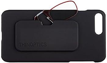 ThinOptics Slimline Case + Rectangular Reading Glasses iPhone 7 Plus-Red Frames 2 x + 2