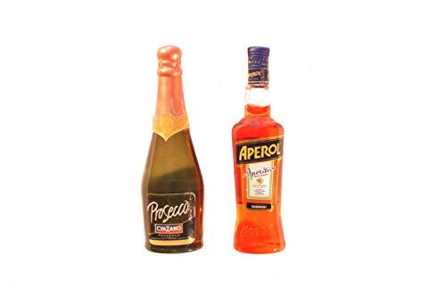 Albo Trade Miniatur-Magnetische Kombination aus Aperol und Prosecco Flasche