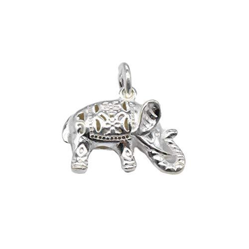 Colgante de elefante de plata de ley, colgante de elefante 3D para collar y pulsera, colgante de elefante de plata 925, colgante de elefante hueco