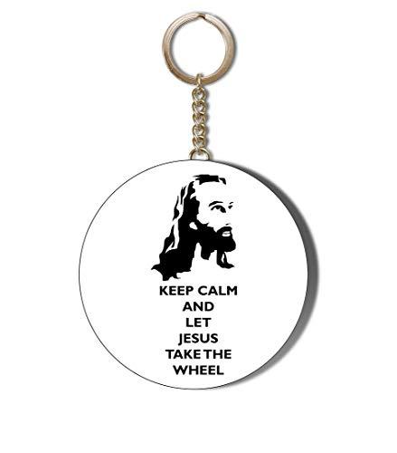 Gift Insanity Porte-clés avec chaîne de 58 mm « Keep Calm and Let Jésus Take The Wheel »
