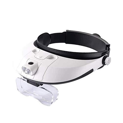 LLLKKK Lupa de lectura, lupa de cabeza con luces LED, manos libres, montado en la cabeza