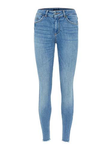 PIECES Damen Jeans Mid Waist Cropped MLight Blue Denim