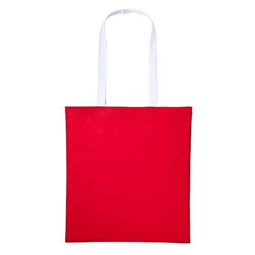 Nutshell Baumwoll-Tragetasche mit langen Henkeln (Einheitsgröße) (Rot/Weiß)