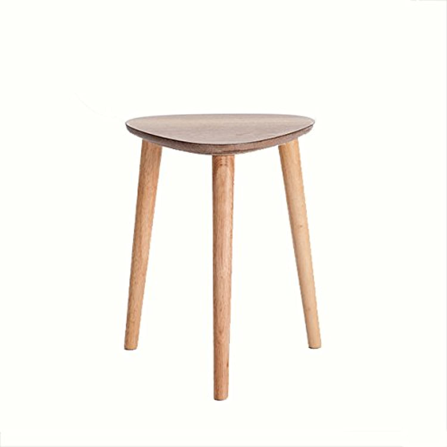 WENJUN Creative Fashion Stool Solid Wood Home Simple Modern Dining Table Stool Nordic Dressing Stool Living Room Triangle Stool (color   Natural color)