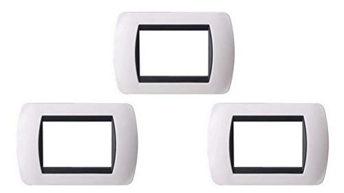 3x SANDASDON Placche 3 Moduli compatibili Bticino Living International (bianco)