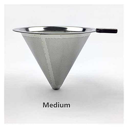 SHUANGX Stainless Steel Coffee Filter Holder Reusable Coffee Filters Dripper v60 Drip Coffee Baskets (Color : Medium V-F-402)