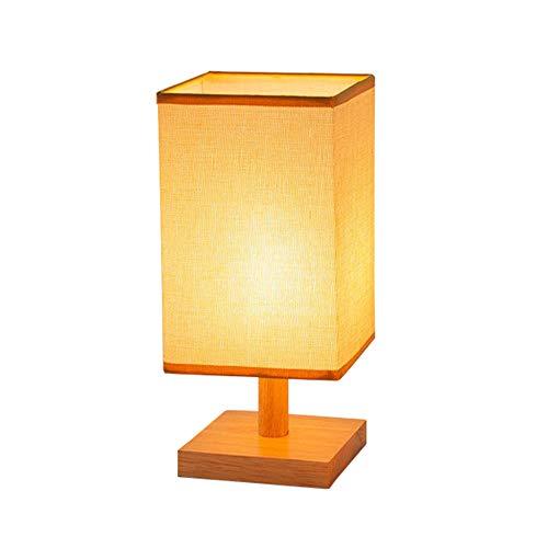 Osairous Lámparas de Mesa LED, 3000K Luces de Escritorio de Madera, E27 Lámpara de Noche con Pantalla de Tela para Dormitorio, Sala de Estar, Oficina, Bombilla Incluida
