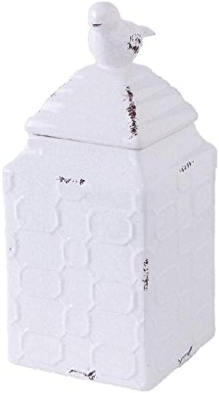 K&K Interiors White Ceramic Square Canister w Bird Lid