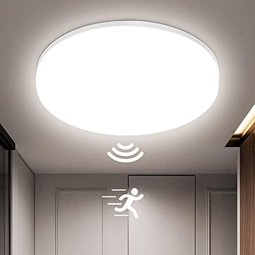 Oraymin 24W LED Lámpara de Techo con Detector de Movimiento Orientable, 2400LM Plafón LED IP54 luz a prueba de humedad, Plafón LED 4000K blanco neutro para baño, balcón, salón, pasillo, cocina