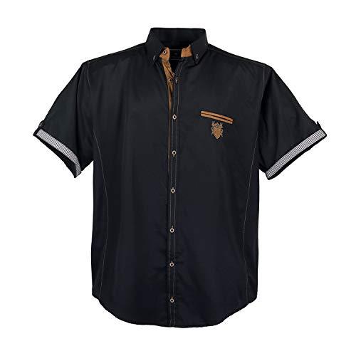 Lavecchia Modernes Herren Hemd kurz Arm, 5XL, Black