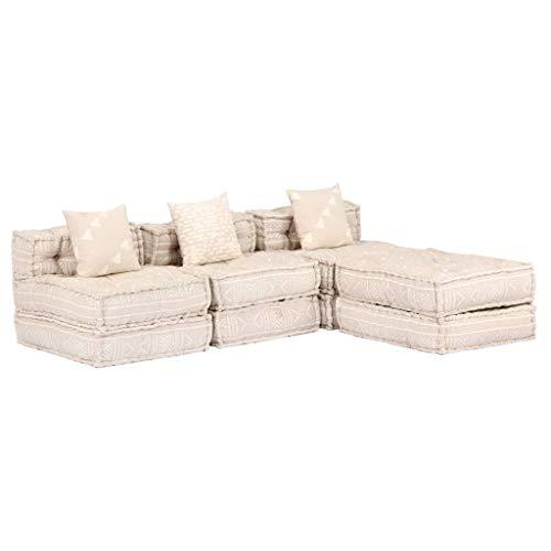 vidaXL Puf Modular de 3 Plazas de Tela Casa Hogar Jardín Sillón Muebles Mobiliario Colchón Descanso Invitados Salón Comedor Sala Estar Beige
