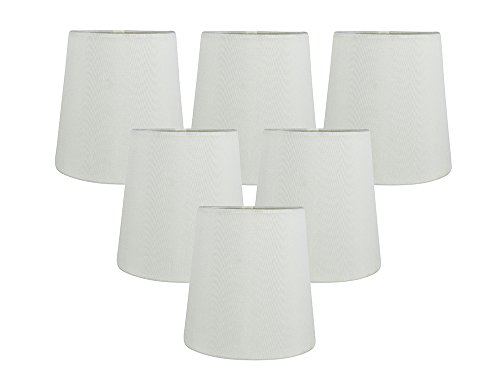 Meriville Set of 6 Eggshell Faux Silk Clip On Chandelier Lamp Shades, 4-inch by 5-inch by 5-inch
