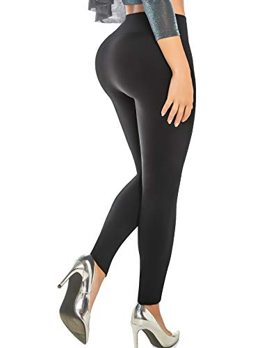 ARANZA Womens Legging Butt Lifting Wide Waistband High Waist Compression Pant Leg Shaper Angel Black