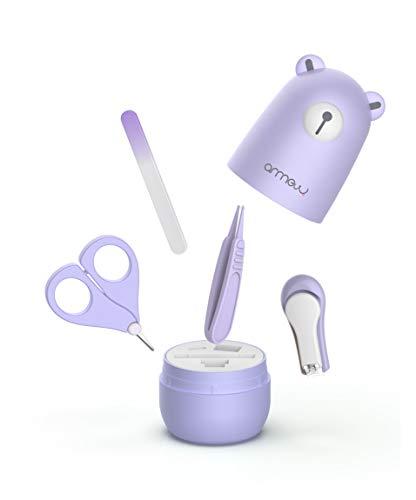 Set de Manicura para bebés de ARRNEW | Equipo de aseo 4 en 1 con estuche de osito celeste, cortaúñas, tijera, lima y pinza(púrpura)