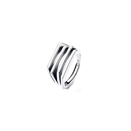 CRYPIN S925 ancient silver European and American retro irregular multi-layer line ring simple personality design temperament open ring