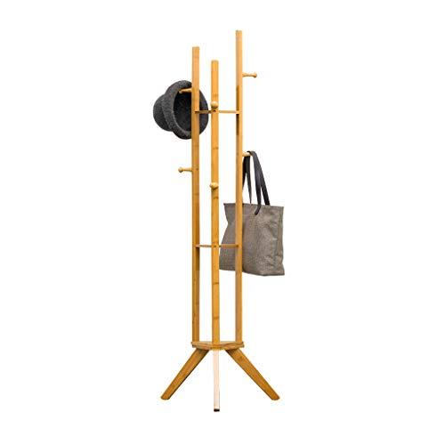 LUAN Perchero Escudo Soporte Moderno de bambú Escudo Escudo Perchero Soporte de Almacenamiento en Rack con 6 Ganchos for Colgar y 2 Bastidores for la Ropa, Sombreros, Bolsos Perchero de