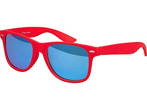 Occhiali da sole unisex in gomma, da nerd, stile vintage, con cerniera a molla–101diversi colori/modelli a scelta rosso Rot - Blau verspiegelt