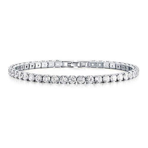 Pulsera de tenis con circonita de cristal y diamante brillante de plata...