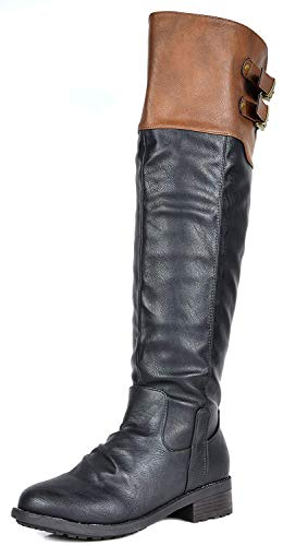 DREAM PAIRS Women's Supra Black Camel Over The Knee Motorcycle Riding Boots Size 9 M US