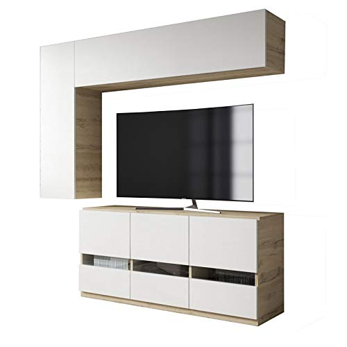 Tousmesmeubles Composition TV Bois Blanc/Chêne Blond - Camelia - L 170 x l 45 x H 190 - Neuf