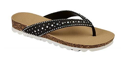 Damen-Flip-Flop-Sandalen mit Glitzersteinen, Größe 36-41, Schwarz - Schwarzer Schmuckstein - Größe: 38 EU
