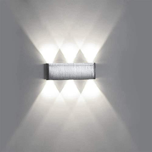 MKKM Luz de Soporte Luz de Soporte Led Lámpara de Pared Moderna de Arriba Hacia Abajo Luz de Punto Simple de Aluminio Iluminación Interior para Cine en Casa Estudio Pasillo Porche,Plata + Blanco Frío