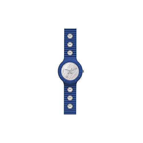 Orologio HIP HOP donna PEARLS quadrante bianco e cinturino in silicone, glam blu, movimento SOLO TEMPO - 3H QUARZO