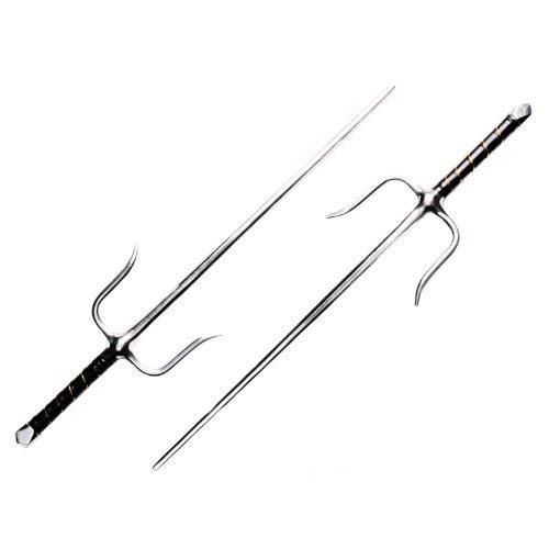 2X originale sai forchette in metallo 8rettangolare profilo, lavorazione pesante, cromato Lunghezza: ca. 54,5cm Peso: ca. 740G Manici antiscivolo avvolti