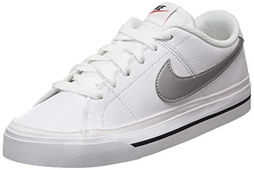 Nike Wmns Court Legacy, Scarpe da Ginnastica Donna, White/Metallic Silver-Black, 38 EU