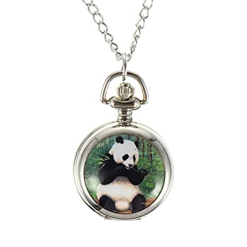 UKCOCO Reloj de Bolsillo de Panda Reloj de Bolsillo para Niños Bonito Reloj Colgante Antiguo para Cumpleaños Aniversario Regalo de San Valentín Plata