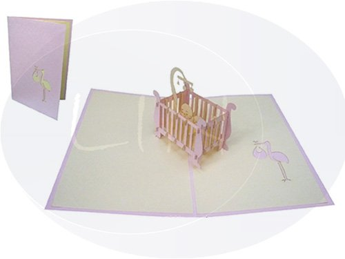 LIN-POP UP 3D Grußkarten Glückwunschkarten Geburtskarten Babykarten Kinderbett  Mädchen
