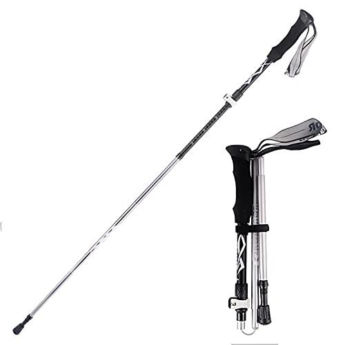 BBZZ Polos de Trekking de aleación de Aluminio al Aire Libre, bastón portátil Que se Puede Extender a 49.2 Pulgadas, Adecuado para Senderismo, Camping, mochilero,Negro