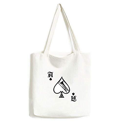 Posaune, klassisches Musikinstrument-Muster, Handtasche, Pokerspaten, waschbare Tasche