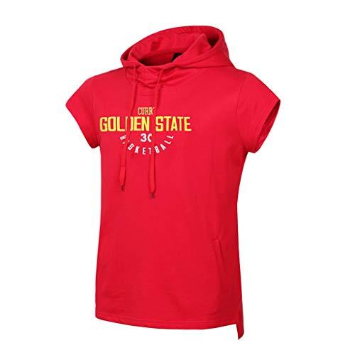 CHANGRAN Verano Baloncesto Jersey Golden State Warriors # 30 Curry sin Mangas Camiseta Baloncesto Sudadera con Capucha Casual Ropa de Aptitud Casual Ropa roja,XL