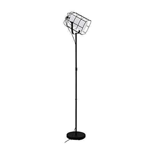 EGLO Lámpara de pie Bittams, 1 lámpara de pie vintage, industrial, moderna, lámpara de pie de acero y tela, lámpara de salón en negro, blanco, lámpara con interruptor, casquillo E27
