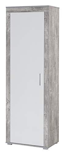 WILMES Garderobenschrank, Holzwerkstoff, Beton/weiß melamin dekor, 60 x 37 x 181.5 cm