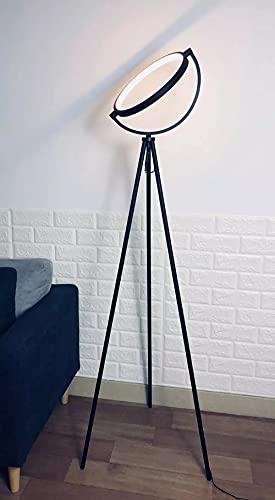 OutGoor Lámpara de Pie Moderna, Lámpara de Led Industrial Metal Negro con Anillo de Luz Retro, 3000k Blanco Cálido perfecto para la Decoración Hogar, Dormitorio, Oficina, Lámpara vertical con Trípode